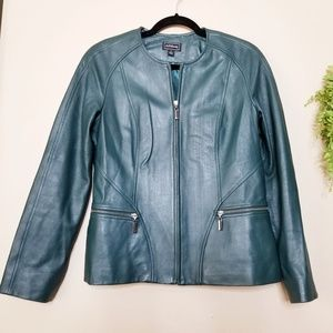 Artifacts Forest Green Collarless Leather Jacket